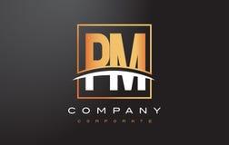 PM P L Gouden Brief Logo Design met Gouden Vierkant en Swoosh Stock Foto's