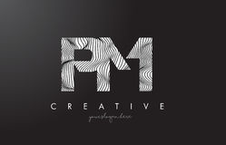 PM P L Letter Logo with Zebra Lines Texture Design Vector. Royalty Free Stock Image