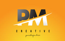 PM P L Letter Modern Logo Design with Yellow Background and Swoo. PM P L Letter Modern Logo Design with Swoosh Cutting the Middle Letters and Yellow Background Royalty Free Stock Image