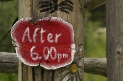 After 6pm Sign Royalty Free Stock Photography