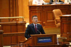 PM Sorin Grindeanu no-confidence vote. BUCHAREST, ROMANIA - June 21, 2017: Romanian Premier Sorin Grindeanu speaks in front of Parliament during a no-confidence royalty free stock photos