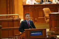 PM Sorin Grindeanu no-confidence vote. BUCHAREST, ROMANIA - June 21, 2017: Romanian Premier Sorin Grindeanu speaks in front of Parliament during a no-confidence royalty free stock photography
