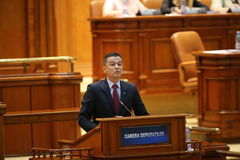 PM Sorin Grindeanu no-confidence vote. BUCHAREST, ROMANIA - June 21, 2017: Romanian Premier Sorin Grindeanu speaks in front of Parliament during a no-confidence royalty free stock image