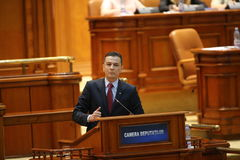 PM Sorin Grindeanu no-confidence vote. BUCHAREST, ROMANIA - June 21, 2017: Romanian Premier Sorin Grindeanu speaks in front of Parliament during a no-confidence stock photos
