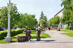 At 6 pm after the war monument in Kemerovo city Stock Images