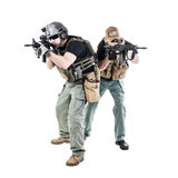 PMC in action. Private military contractors PMC in action on white background royalty free stock photos
