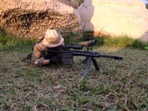 Pmc Sniper military models. On the scale miniature realistic toy soldier Royalty Free Stock Photo