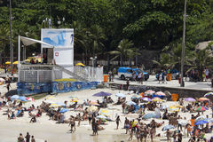 PMERJ increases policing in Rio's beaches with monitoring truck Stock Photos
