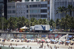 PMERJ increases policing in Rio's beaches with monitoring truck Stock Photography