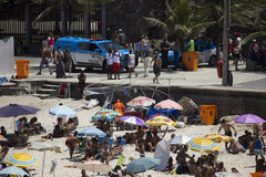 PMERJ increases policing in Rio's beaches with monitoring truck Royalty Free Stock Photography