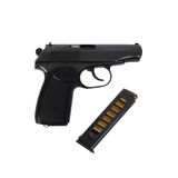 PMM on white. Russian 9mm semi-automatic black handgun PMM with  combat ammunition cartridge isolated on white background in square Royalty Free Stock Images