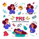 PMS Ställ in av kvinnalidande från premenstruell syndrom Olika tecken av den menstruations- cirkuleringen och släkta produkter li royaltyfri illustrationer