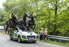 PMU (Le Pari Mutuel Urbain) Vehicle in Vosges Mountains - Tour de France 2014 Royalty Free Stock Images