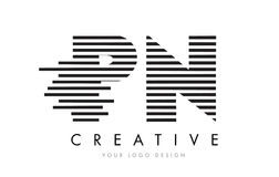 PN P N Zebra Letter Logo Design with Black and White Stripes Royalty Free Stock Image