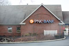 PNC Bank exterior and sign. PNC Financial Services Group, Inc. is a financial services corporation. Philadelphia, Pennsylvania, March 3, 2018:PNC Bank exterior Royalty Free Stock Image