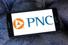 PNC Financial Services logo. Logo of PNC Financial Services on samsung mobile. PNC Financial Services Group is a Pittsburgh-based financial services corporation Royalty Free Stock Photos