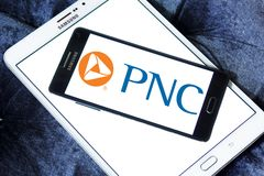PNC Financial Services logo. Logo of PNC Financial Services on samsung mobile. PNC Financial Services Group is a Pittsburgh-based financial services corporation Royalty Free Stock Image