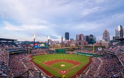 PNC Park, home field to the Pirates playing the Milwaukee Brewers on a summer night royalty free stock photos