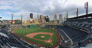 PNC Park: Home of the Pittsburgh Pirates. View from the upper deck of PNC Park and a panorama of the city of Pittsburgh. The Pirates got beat by the New York stock photo
