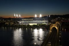 PNC Park at night, Pittsburg, Pennsylvania Royalty Free Stock Images