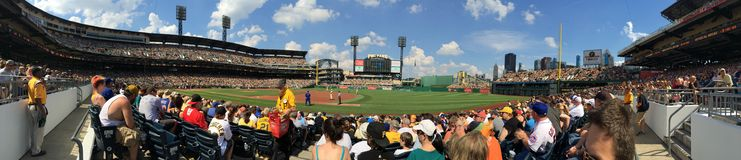 PNC Park. Pittsburgh baseball pirates panorama ball sport sunny stadium sun city Stock Photography