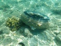 Pneu de borracha sob a água no mar imagem de stock