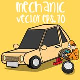 Pneu de changement de mécanicien de voiture illustration libre de droits