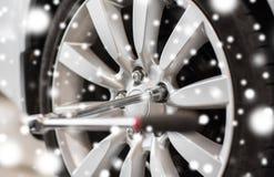 Pneu de roue de tournevis et de voiture Photographie stock libre de droits