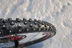 Pneu do inverno do Mountain bike Imagens de Stock