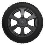 Pneu noir avec la roue noire Images stock