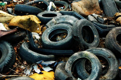 Pneu waste dump. Stop black wasted dump.Waste dump no ecology.Pneumatic dump Royalty Free Stock Photos