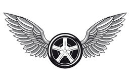 Pneumático de roda com asas ilustração stock
