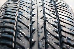 Pneumático molhado do carro (pneu) Fotografia de Stock