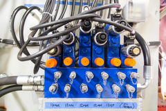 Pneumatic Console. Blue Pneumatic Console with black hoses stock photos