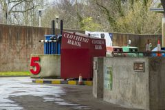A pneumatic crusher and clothing bank at the modern environmentally friendly recycling centre in Bangor County Down Northern Irela. Nd. This modern facility is stock images