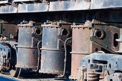 Pneumatic cylinders, a railway freight. Wagon. Industrial background stock image