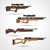 Pneumatic guns. PCP compressed air hunting rifle. Airguns carbine. Pneumatic. Air rifle with optical sight  on white background. Pre-charged pneumatic Stock Photo