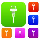 Pneumatic hammer set color collection Royalty Free Stock Image