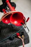 Pneumatic horn with red beeps stock images