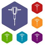 Pneumatic plugger hammer icons set. Rhombus in different colors isolated on white background Royalty Free Stock Image