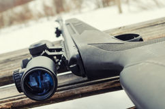 Pneumatic rifle with an optical sight. For sport hunting Stock Photo
