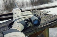 Pneumatic rifle with an optical sight stock photos