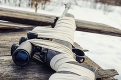 Pneumatic rifle with an optical sight stock images