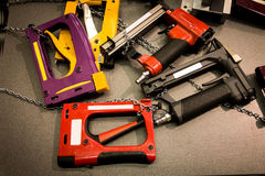 Pneumatic staplers. Air tools Royalty Free Stock Photo