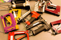 Pneumatic staplers. Tools. royalty free stock photography