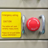 The Pneumatic switch, Emergency button, Emergency switch. Emergency button on machine in factory, for protect accident and stopoff machine stop immediately stock photo
