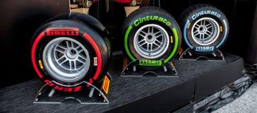 Pneumatic tires Pirelli Stock Images