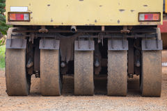 Pneumatic tyred roller compactor prepare for road repairing Stock Images