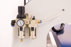 Pneumatic valve meter or pressure control machine royalty free stock photography