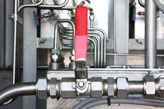 Pneumatic valve at an oil and gas industrial. Royalty Free Stock Image